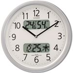 シチズン温湿度計カレンダー表示付電波掛時計 シルバー 4FYA01-019 1台