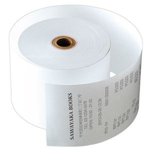 (まとめ)サーマルレジロール紙紙幅58×芯内径17.5mm 巻長63m 中保存タイプ 1パック(5巻)【×5セット】