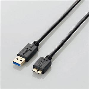 (まとめ)エレコム USB3.0ケーブル(A-microB) ブラック 1.0m USB3-AMB10BK/RS 1本【×5セット】