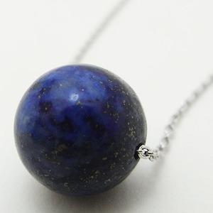 一粒の天然石シルバーネックレス/ラピスラズリ