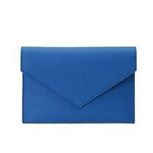 全7色♪整理できるポケット付仕切りが付いたカラフルクラッチバッグ/ブルー