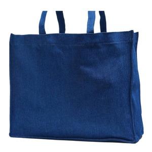 でかっ!エコバッグにも使えるデニム素材のマチ付トートバッグ/ネイビー