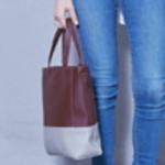 落ち着いたツートンカラーのツーウェイミニトートバッグ/グレイ