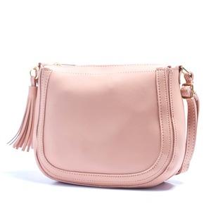 優しいカラー6色♪クラシカルなフリンジ付ショルダーバッグ/ピンク