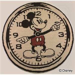 スミノエ DISNEY DRM-4000ラグ MICKEY/On the clock! RUG 100×100cm ベージュ