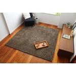 シンプルモダン ラグマット/絨毯 【200cm×200cm 約2帖 ブラウン】 正方形 ホットカーペット対応 スミノエ 『パフ』