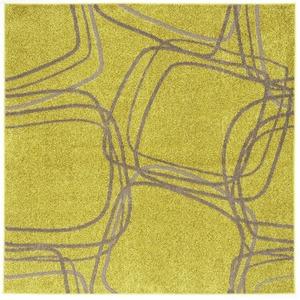 ナイロンラグ/絨毯 【200cm×200cm イエローグリーン】 正方形 日本製 防滑 オールシーズン対応 ホット&クール 『レシェ』