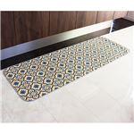 モロッコタイル柄キッチンマット ブルー 60×180cm