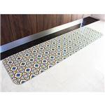 モロッコタイル柄キッチンマット ブルー 60×230cm