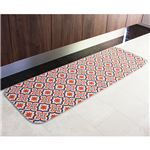 モロッコタイル柄キッチンマット レッド 60×180cm