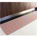 モロッコタイル柄キッチンマット レッド 60×230cm
