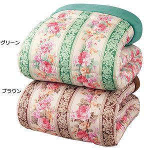 衿裏あったか毛布地 掛け布団セット 【ダブル 2色組 ブラウン/グリーン】 一体型 寝具 〔和室 洋室〕