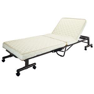 高反発ウレタン電動ベッド/折りたたみベッド 【シングルサイズ】 リモコン操作 リクライニング スチールフレーム