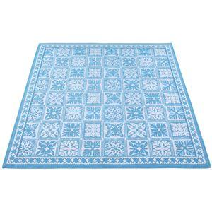 リゾートテイスト ジャカード織ラグマット/絨毯 【正方形 約185cm×185cm ブルー】 裏地:不織布 『シーヤン』