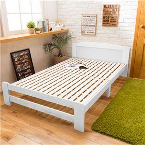 【フレームのみ】 天然木すのこベッド 【セミダブル】 木製 パイン材 ホワイト