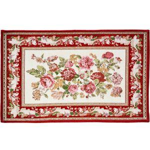 ローズ柄シェニール織ラグマット/絨毯 【長方形 70cm×120cm】 レッド 敷物 〔リビング 玄関 寝室〕
