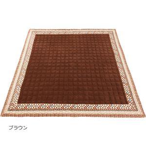 あったかオシャレなマイヤーラグ(シャルナ)(カーペット・絨毯) 【約185×185cm】 ブラウン