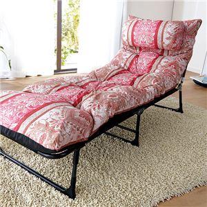 枕・ごろ寝布団付リクライニングベッド ピンク系