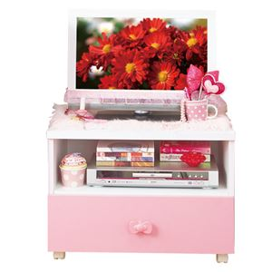 リボン家具可愛いコンパクトテレビ台 ピンク テレビ台