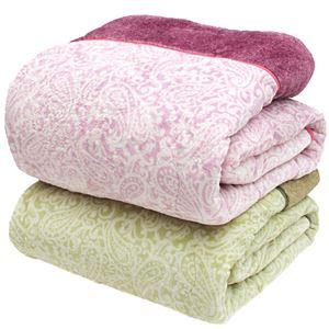 ペイズリー柄あったかわた入り毛布2点セット 2色組
