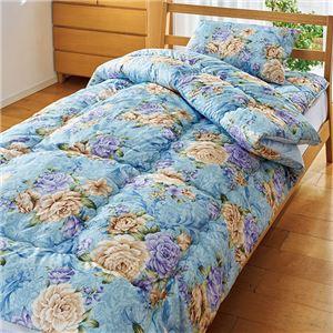 【TEIJIN】 清潔 布団セット/寝具 【セミダブル ブルー】 洗える 日本製 掛け布団 敷布団 枕付き 抗菌 防臭 保温性 〔寝室〕