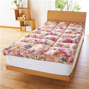 敷きパッド型 敷布団/寝具 【セミダブル ピンク】 ポリエステル マチ付やわらか 〔寝室 ベッドルーム リビング〕