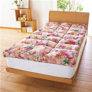 敷きパッド型 敷布団/寝具 【クイーン ピンク】 ポリエステル マチ付やわらか 〔寝室 ベッドルーム リビング〕
