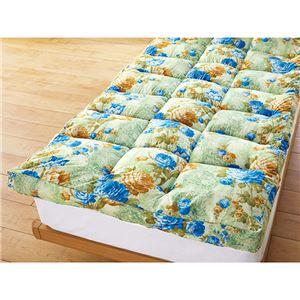 敷きパッド型 敷布団/寝具 【ダブル グリーン】 ポリエステル マチ付やわらか 〔寝室 ベッドルーム リビング〕