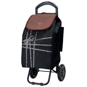 ショッピングカート/キャリーカート 【ブラック】 幅30cm 積載荷重7kg リボンテープ柄 『ホールマーク』 〔お買い物〕