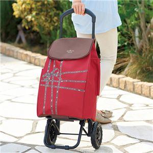 ショッピングカート/キャリーカート 【レッド】 幅30cm 積載荷重7kg リボンテープ柄 『ホールマーク』 〔お買い物〕
