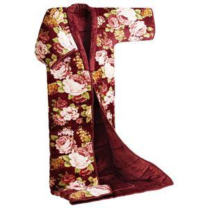 かいまき毛布/寝具 【エンジ】 140cm×190cm 足ポケット付き 洗える ポリエステル 〔寝室 ベッドルーム〕