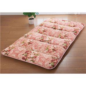 収納ラクラク 軽量6つ折敷布団 ピンク