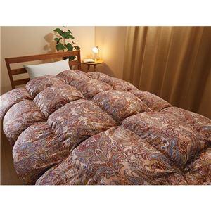 蓄熱生地を使った日本製羽毛布団 シングル(通常) ペイズリー・ブラウン