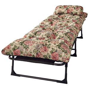 枕・ごろ寝布団付き リクライニングベッド 【セミシングル 花柄】 6段階 折りたたみ スチールパイプ製フレーム