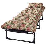 枕&ごろ寝布団付き リクライニングベッド/寝具 【セミシングル 6段階 花柄】 幅60cm 折りたたみ スチールパイプ製フレーム