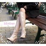 晴れても履けるおしゃれなハイヒールレインブーツ LiLy Grace Pink38サイズ