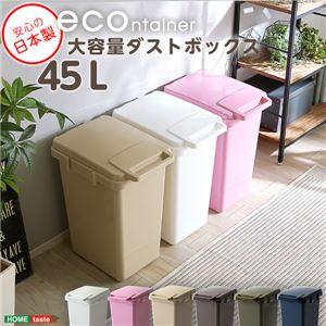 らくらくワンハンド開閉!日本製ダストボックス(大容量45L)ジョイント連結対応【econtainer】 ホワイト