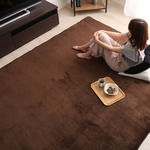 低反発 ラグマット/絨毯 【Mサイズ 190×190cm/ブラウン】 高密度マイクロファイバー 遮音性能 『リウル』
