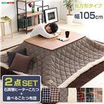 ウォールナットの天然木化粧板こたつテーブル+布団セット(7柄)日本メーカー製|Mill-ミル- Bセット こたつ布団カラー:ブラウンチェック