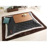 ウォールナットの天然木化粧板こたつテーブル+布団セット(7柄)日本メーカー製|Mill-ミル- Fセット こたつ布団カラー:タータンブルー
