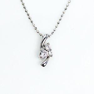 0.1ct 天然ダイヤモンド スリーストーン ペンダント ネックレス