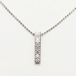 0.1ct 天然ダイヤモンド ストレートライン スクエア ペンダント ネックレス