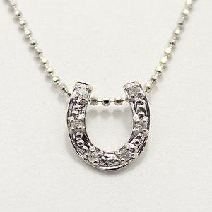 天然ダイヤモンド 6石ストーン ホースシュー 馬蹄 デザイン ペンダント ネックレス