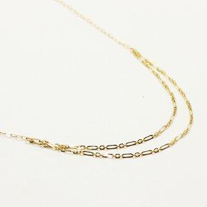 10金イエローゴールド 40cm 丸アズキチェーン デザイン ネックレス