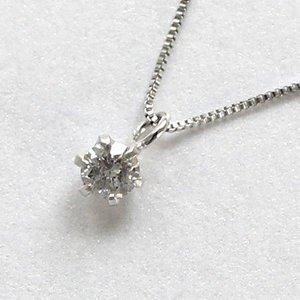 10金ホワイトゴールド 0.1ct 一粒石 ダイヤモンド 6爪 ペンダント ネックレス