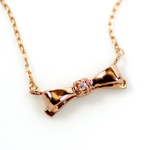 10金ピンクゴールド 天然ダイヤモンド プチ リボン ペンダント ネックレス