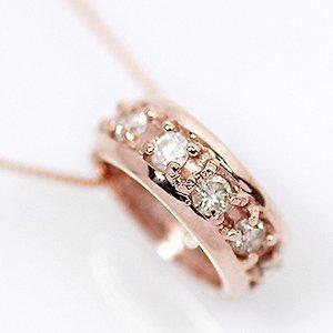 18金ピンクゴールド 0.2ct 天然ダイヤモンド エタニティ リング ペンダント ネックレス