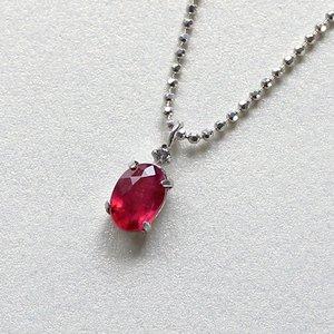 0.5ct ラウンドカット ルビー 天然ダイヤモンド付き ペンダント ネックレス