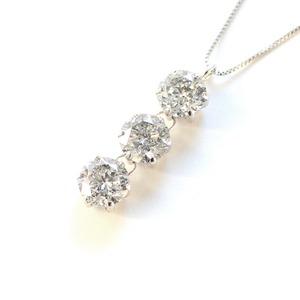 1.8ct プラチナ スリーストーン ダイヤモンド ペンダント ネックレス