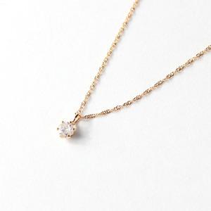 18金ピンクゴールド ダイヤモンド 0.1ct ペンダント ネックレス